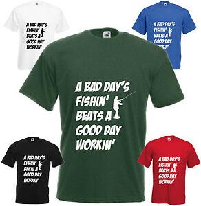 Une-mauvaise-journee-de-fishin-039-T-Shirt-Drole-Peche-Cadeau-D-039-anniversaire-Homme-Haut-Femme