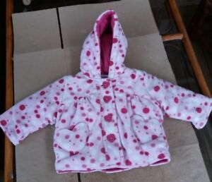 be92b0420 Cherokee Baby Girls Pink Spotted Fleece Winter Coat - 0-3 months