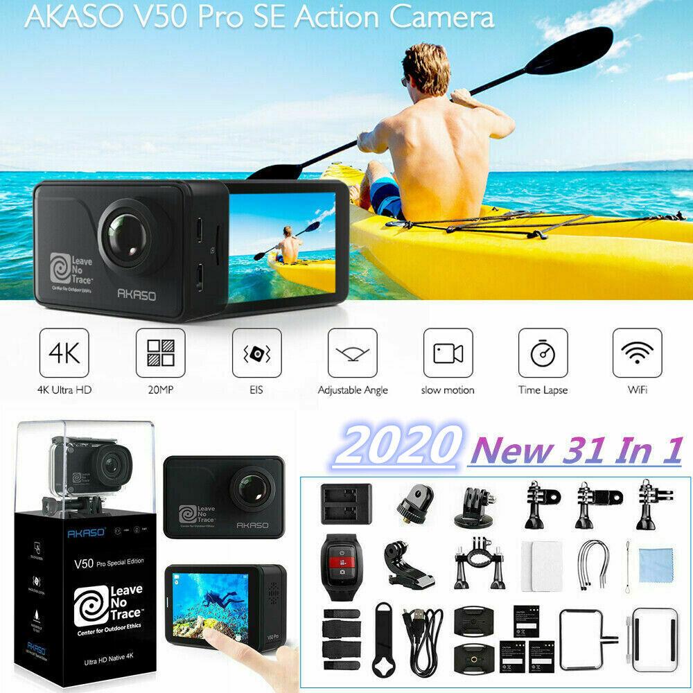 New AKASO V50 PRO SE Action Camera 4K/60fps Touch Screen WiFi EIS + 3x Batteries action akaso camera eis new pro screen touch v50 wifi