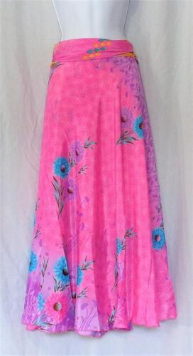 abito 640320128598 gonna Seta e Floral Beach lungo Print Fashion Pink convertibile wqZv87