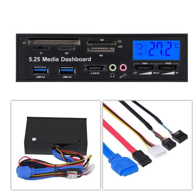 5.25'' Multi-function Front Panel USB 3.0 Card Reader with Temperature Display