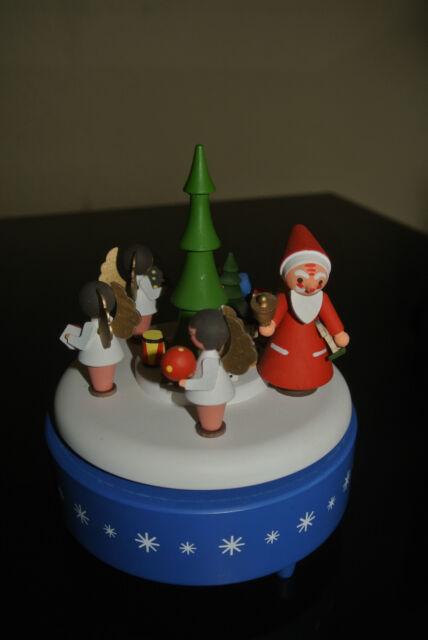* alte Spieldose , Weihnachtsmann mit Engel - Erzgebirge * (302-15)
