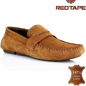 mens red tape leather slip on casual moccasin designer