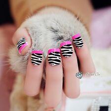 24 PCS French Style Pink Zebra Oval Full Design Short Acryli Fake Nails Acrylic