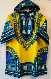 Men Women African Dashiki Hoodie Top W/ Hood Traditional Blouse Yellow M L XL
