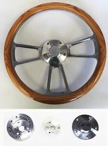 Falcon-Thunderbird-Galaxie-Steering-Wheel-Oak-Wood-and-Billet-14-034-Plain-Cap