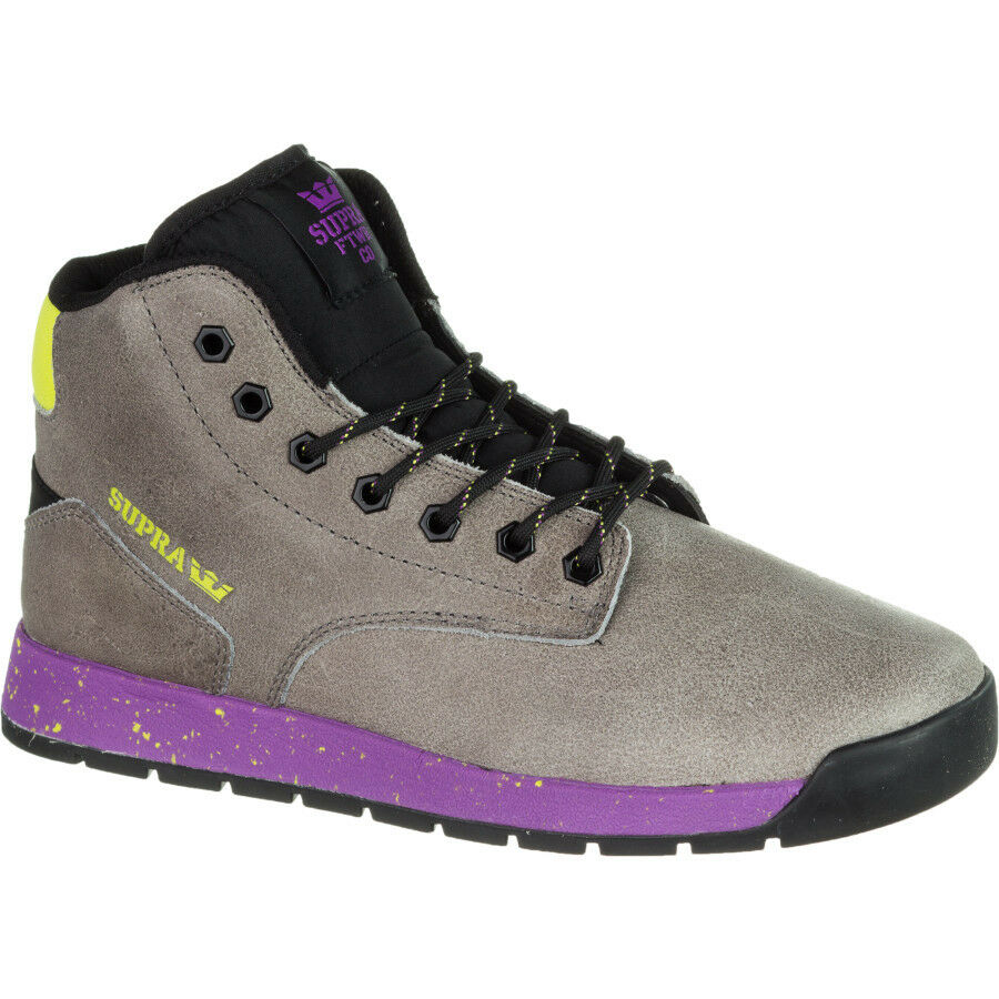 Supra Backwood Boot - Men's Size 9 Charcoal/Yellow Suede Mid-Top Athletic Shoes