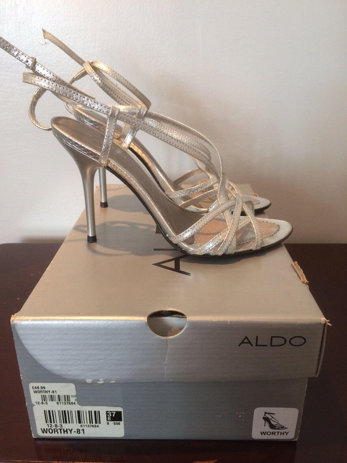ALDO silver Stappy High Heeled Shoe UK size 4. worn Once RRP