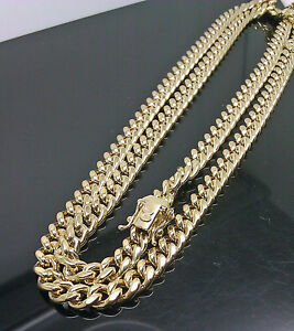 857233a3b Mens 10K SOLID Gold Cuban Chain, REAL Miami Cuban Link Necklace Box ...