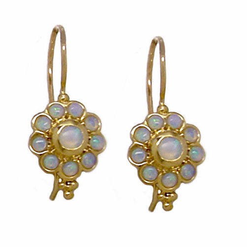 E106 Genuine 9ct SOLID Yellow gold Natural Opal Daisy Blossom Drop Earrings
