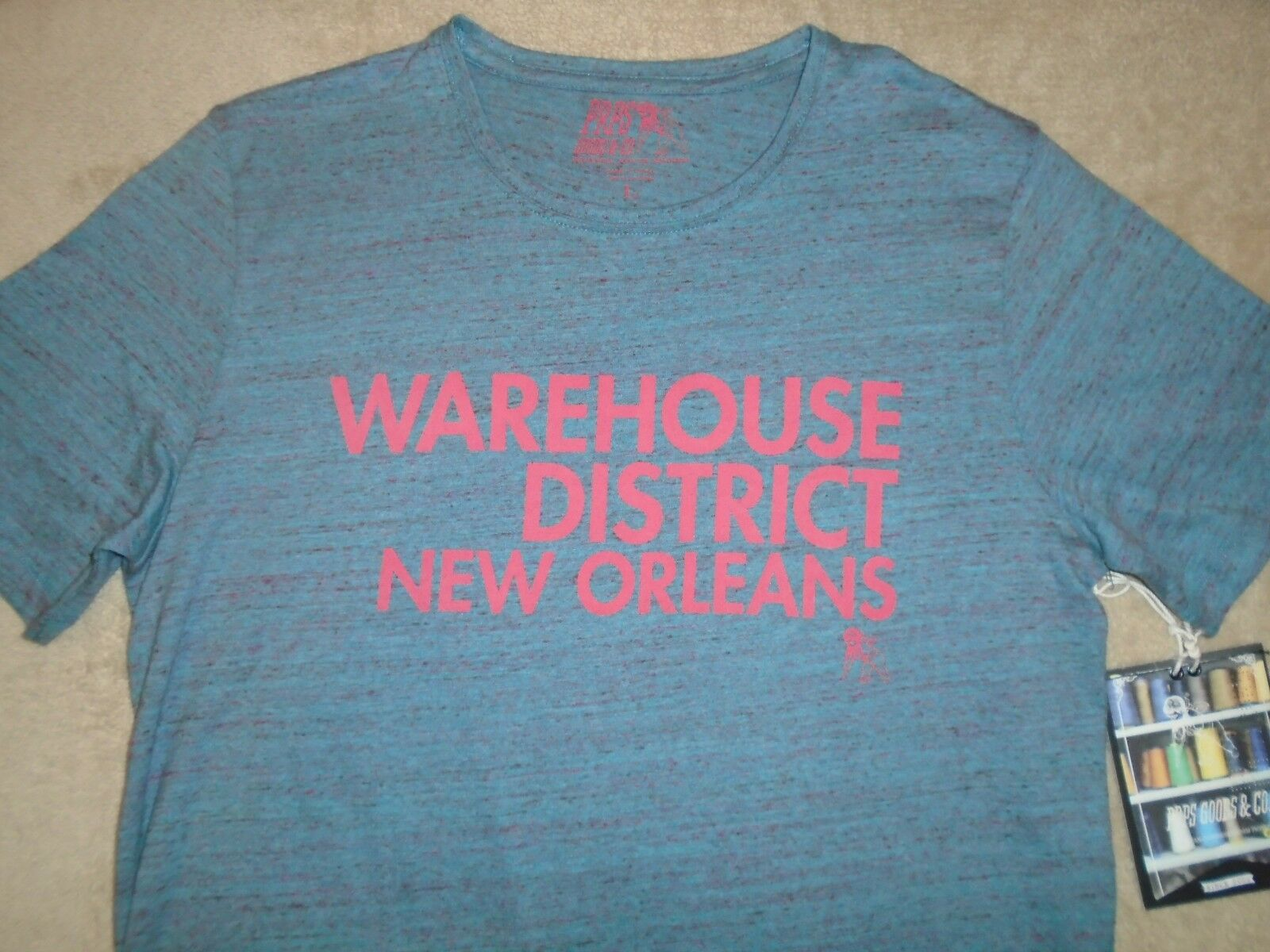 PRPS Heather Sky Blau  Herren L  WAREHOUSE DISTRICT Large T Shirt Orig. 55+ Cotton
