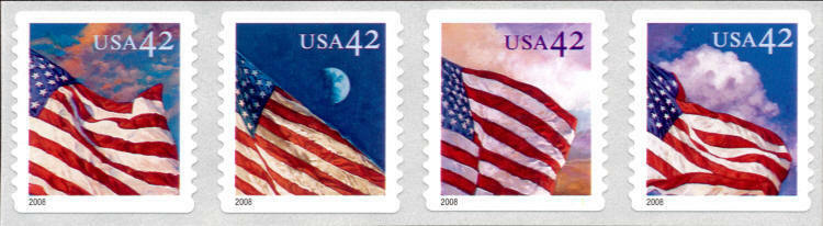 2008 42c American Flags, Strip of 4 Scott 4244-4247 Min