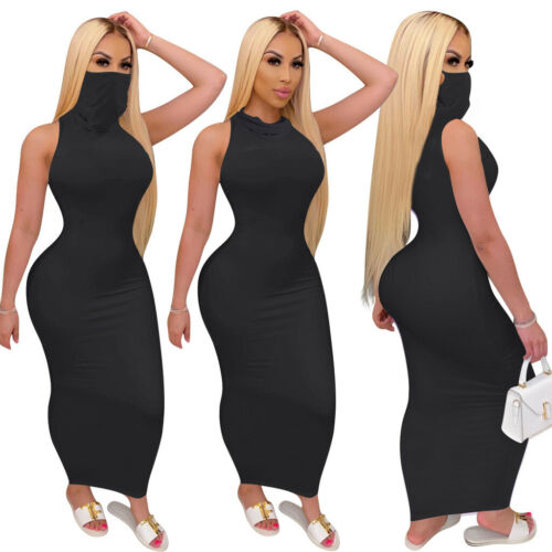2020 NEW Fashion Women Solid Sleeveless Bodycon Long Dress with Face Cover