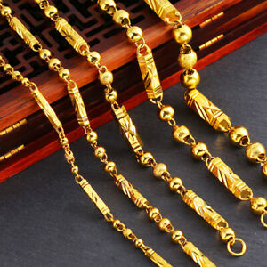 Men-039-s-Bead-Necklace-Chain-18k-Yellow-Gold-Filled-Fashion-Jewelry-22-034-24-034