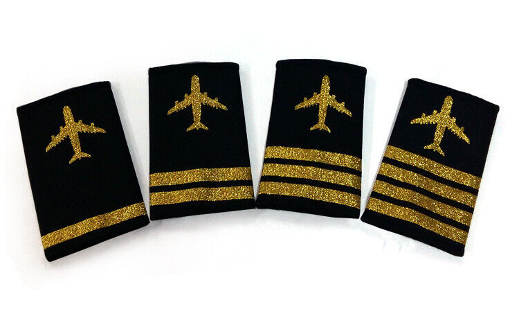 Airline Pilot Captain,Gold Strips Epaulettes,Merchant Marine 4 Bars Epaulet Rank