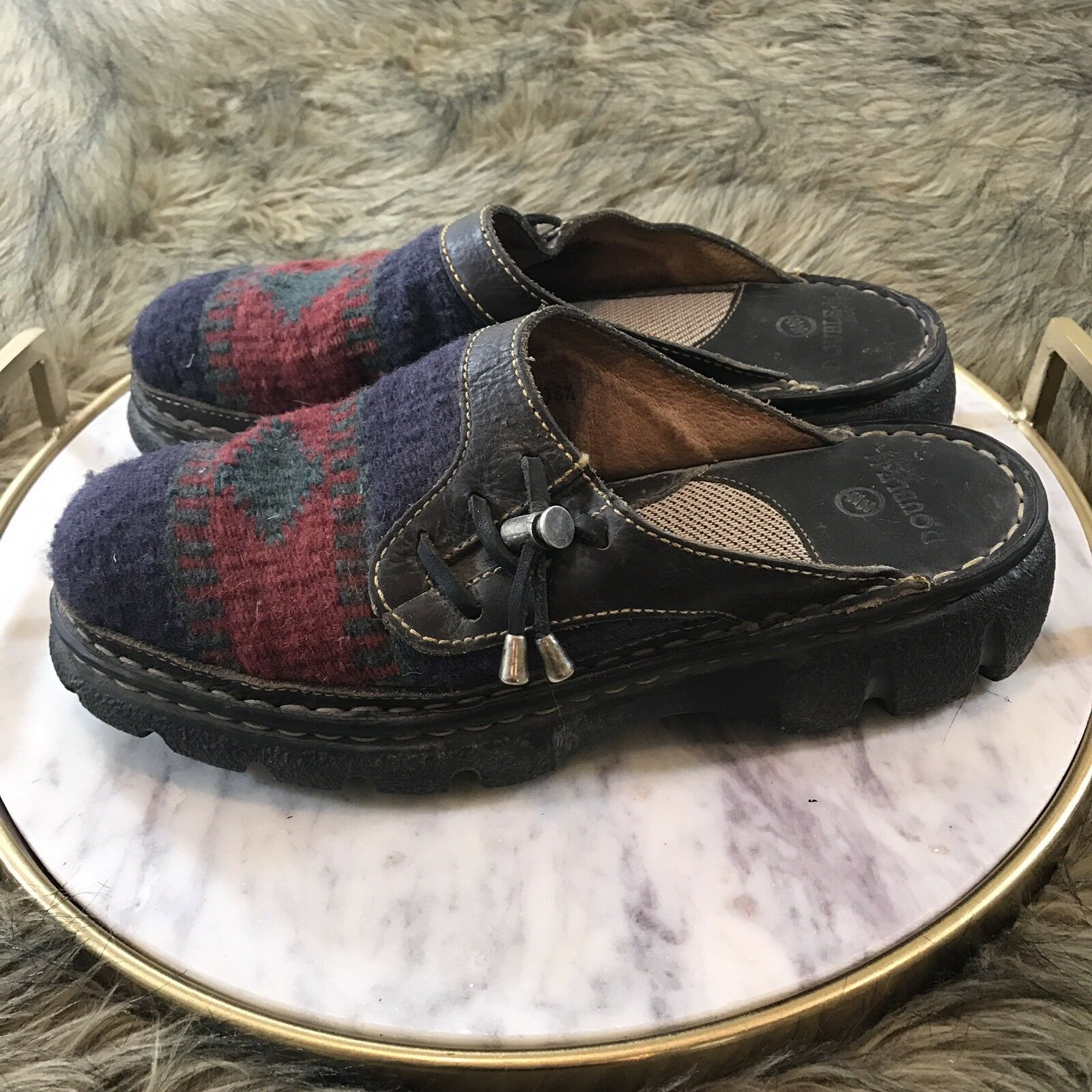 Double H Boots Wo. Sz 7.5 M Leather & Multi color Southwest Comfort Mules Clogs