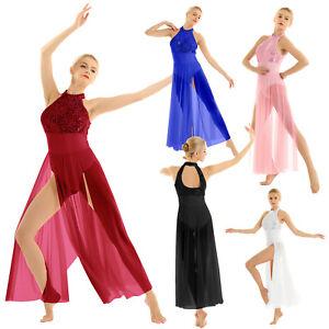 Women-Lyrical-Sequin-Ballet-Leotard-Bodysuit-Dance-Dress-Sheer-Mesh-Maxi-Skirt