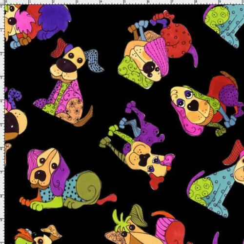 Fat Quarter Happy Dogs Toss Cotton Quilting Fabric Whimsical Dogs Black