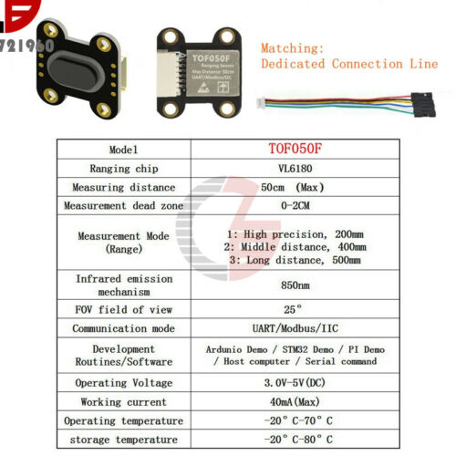 Details about  /Laser Distance Sensor Module TOF050F 200F 400F Modbus Iic Serial Port Output