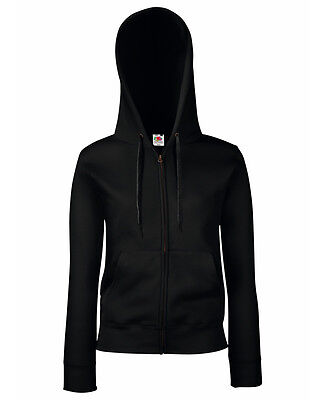 FRUIT OF THE LOOM LADY FIT FULL ZIP HOODED SS312 TOP HOODIE ALL COLOURS S - XXL