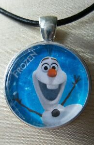 034-OLAF-034-Disney-039-s-Frozen-Glass-Pendant-with-Leather-Necklace