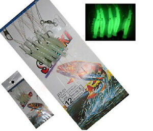 1-Pack-Sabiki-5-Shrimp-Rigs-Glow-in-the-dark-Baits-Fishing-Lures-Catch-Sz12-Hook