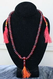 Tibetan 108 Natural OX Horn Prayer Beads 3 Tassel Yoga Meditation Mala Rosary