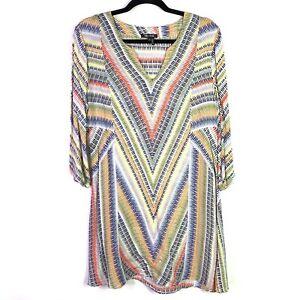 Nic-Zoe-Womens-Sz-Small-Dress-3-4-Sleeve-Multicolor-v-neck