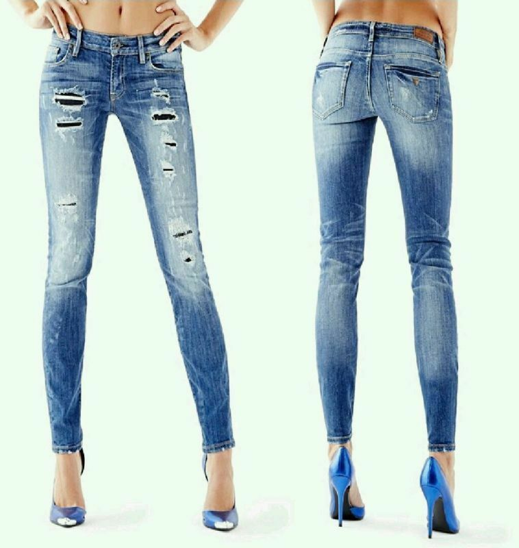 Guess Mid Rise Power Curvy Skinny Jeans In Rumors Wash Patched Destroy