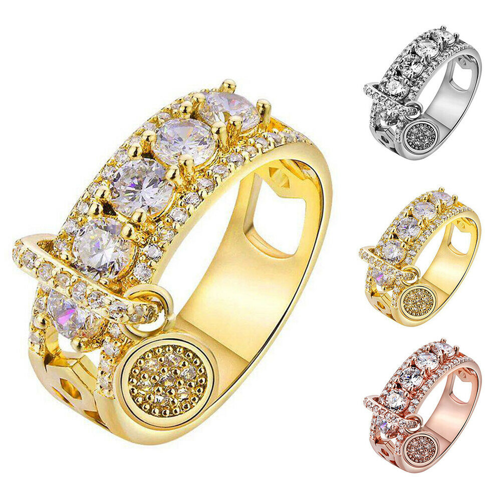 Metal Disc Charm Hollow Band Cubic Zircon Rhinestone Ring Women Jewelry Mystic Fashion Jewellery