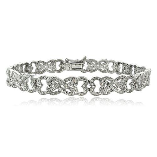 1.00 Ct TDW Diamant entremêlés cœur infini Tennis Bracelet en laiton