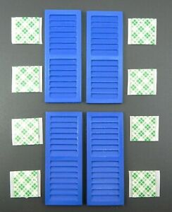 74 x 30 mm maroon Dolls house window shutters with fixing pads 4  pairs