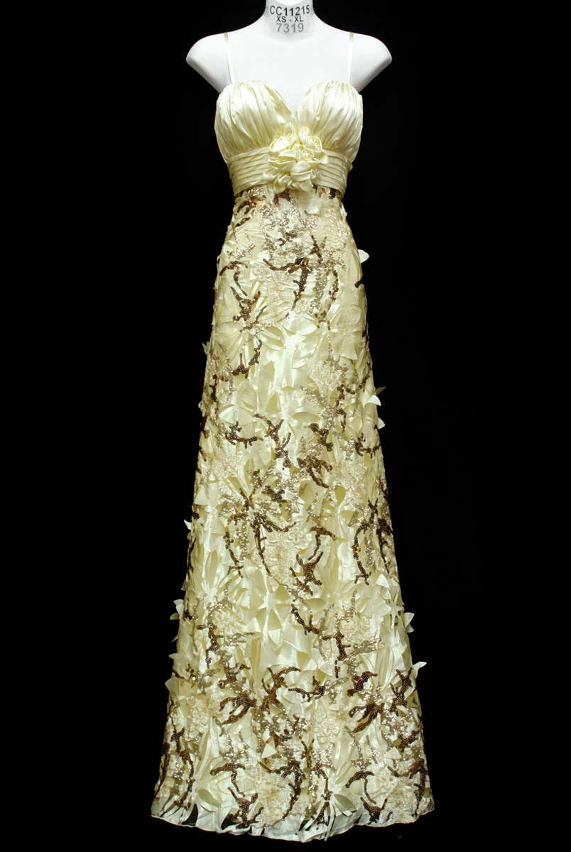 UNIQUE INFORMAL WEDDING GOWN LONG DRESS PRINCESS CHAMPAGNE CHAMPAGNE CHAMPAGNE gold  SZ M Fit 6-8 8d4444