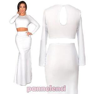 low priced 104da c5eba Dettagli su Completo vestito donna abito due pezzi top e gonna lunga nuovo  DL-1300