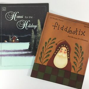 Lot-of-2-Christmas-tole-painting-books-Fiddlestix-amp-Homes-for-the-Holidays