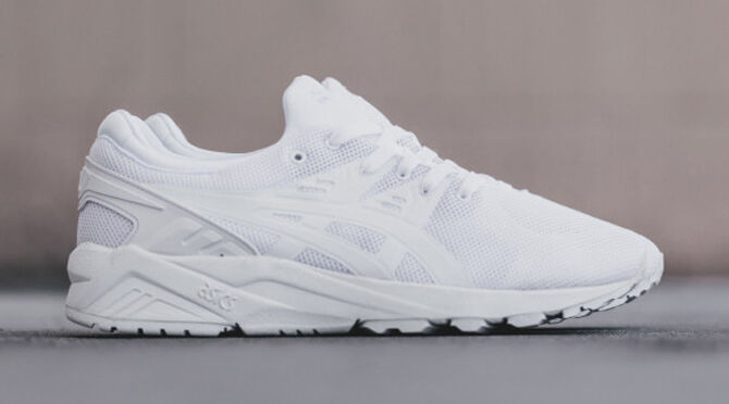 Zapatos promocionales para hombres y mujeres Asics Tiger Kayano Evo Trainers Pure White Gel Lyte III Saga Patta