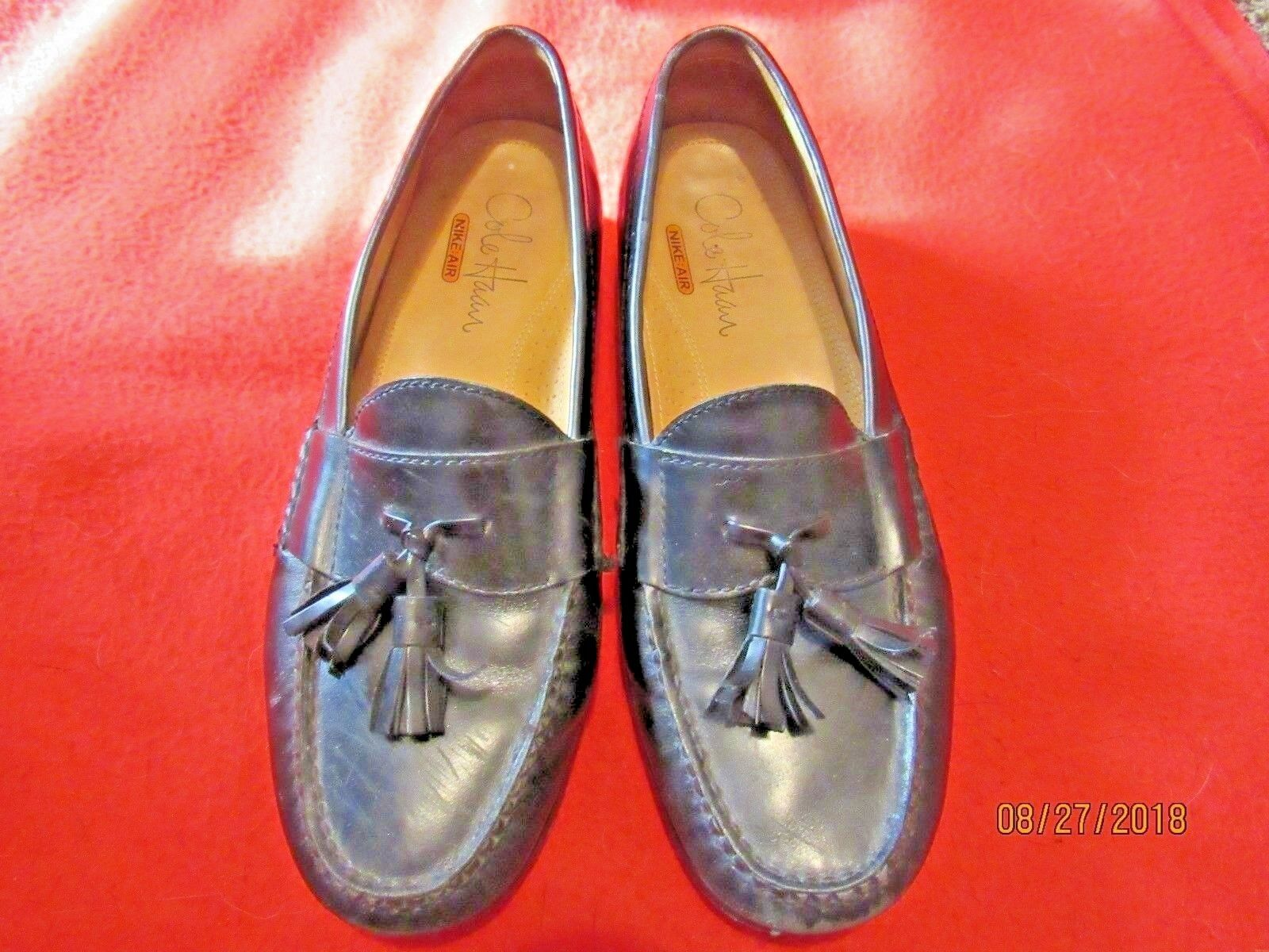 Cole Haan NikeAir Men's Black Leather Tassel Loafers Size 8 US