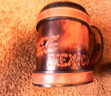 """COCA-COLA LEATHER STIREFOAM CUP HOLDER FROM TIJUANA, MEXICO, 4.5"""" X 4"""" DIA."""
