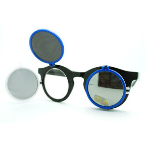 Flip Up Flip Side Sunglasses Clear Glasses Round Circle ...