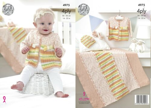 King Cole 4975 Knitting Pattern Jacket Hat Shoes Blanket in Big Value Baby 4 Ply
