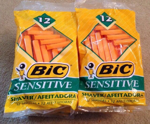Lot of 10 packages of  BIC  SENSITIVE DISPOSABLE RAZORS SHAVERS (120 Total)