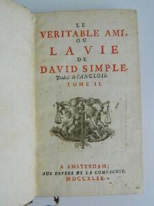 Il Originale Ami, O La Vita Di David Semplice T.2 Fielding Sarah Amsterdam 1749