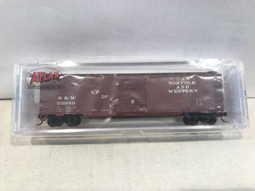 N SCALE ATLAS #50001599 50' SINGLE DOOR BOX CAR NORFOLK /& WESTERN RD# 55949