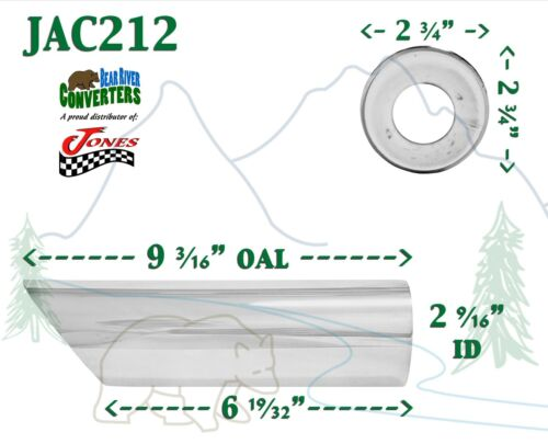 """9/"""" Long JAC212 PAIR 2 1//2/"""" 2.5/"""" Chrome Angle Cut Exhaust Tips 2 3//4/"""" Outlet"""
