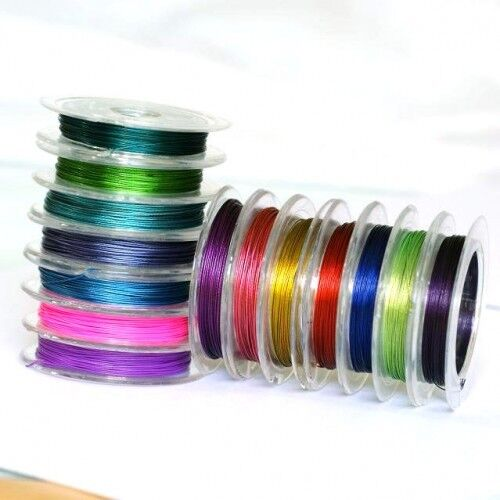 10 x 10 Metres of Mixed Colour 0.38mm Tiger Tail Wire Supplied on Spools