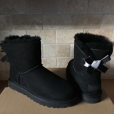 26b1514afc9 UGG MINI BAILEY BOW II SHIMMER BLACK SUEDE BOOTS SIZE US 7 WOMENS | eBay
