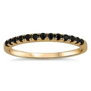 925-Sterling-Silver-Yellow-Gold-Plated-Black-CZ-Stackable-Ring-Sz-3-to-10-NEW