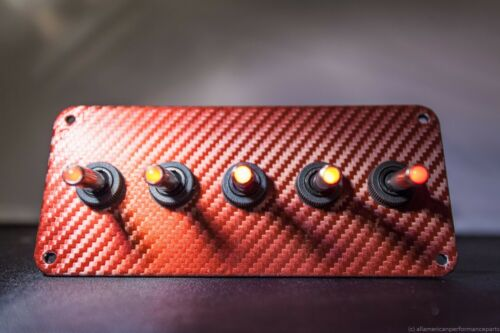 RED 3D WRAP CARBON FIBER PANEL w// LED toggle switches RED