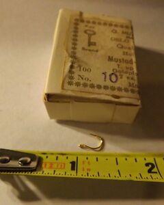 Full-Box-of-100-Mustad-Round-Fishing-Hooks-92263-Gold-plated-size-10
