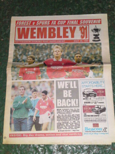 Forest v Spurs Nottingham Evening Post FA Cup Special May 20 1991